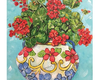 Geranium Painting   Geraniums in a Flower Pot Art Print   Red Geraniums ART PRINTS   Artist Carolyn Altman
