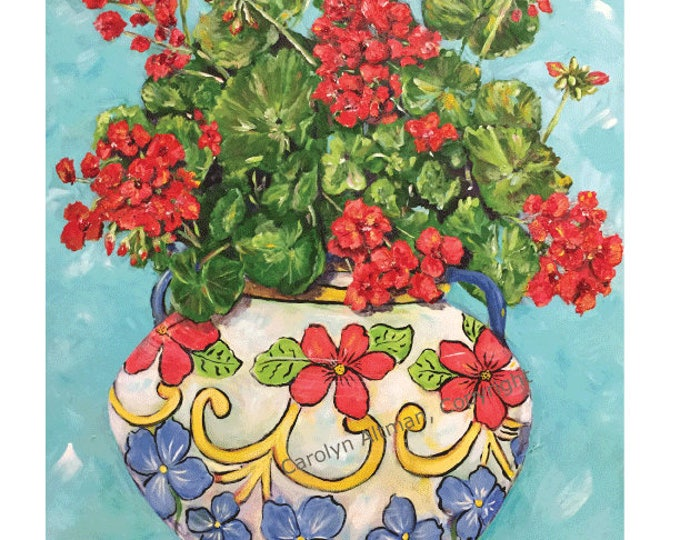 Geranium Painting | Geraniums in a Flower Pot Art Print | Red Geraniums ART PRINTS | Artist Carolyn Altman