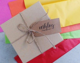 Personalized Kraft Gift Tags - Hand Lettering