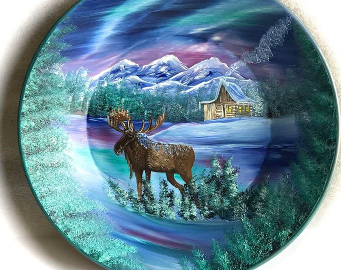 Hand Painted 11 Inch Gold Pans Mountain Blue Winter MOOSE Northern Lights