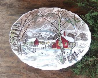 "J & G Meakin Welcome Home 12"" Platter Brown Multi Color Transferware English China Winter Barn Scene"