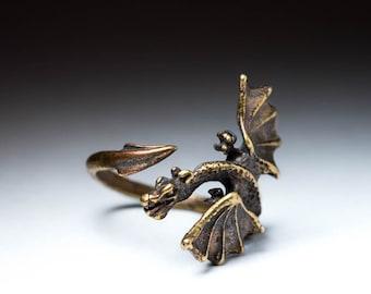 Dragon Ring, brass, adjustable size, handmade