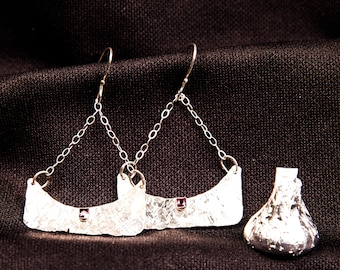 "sterling silver textured ""handbags"" earrings with purple crystals"
