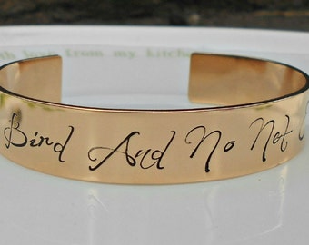 Charlotte Bronte Bracelet|I am no Bird and no Net Ensnares me|English Literature Jewelry|Solid Bronze Bracelet|Jane Eyre|Gifts for her