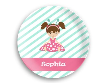Kids Personalized Plate  – Ladybug Girl Pink Dress Green Stripes, 10 inch ThermoSaf® Polymer Plate, Kids Personalized 8.5 inch Bowl