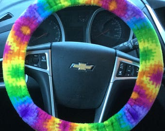 Steering Wheel Cover Multicolored Tie Dye Stripe Or Starburst
