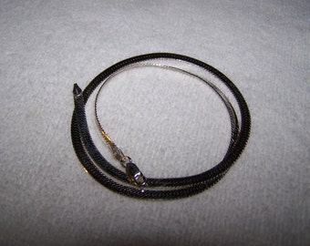 RARE  Technibond Herringbone Sterling Silver Wide Chain Necklace in Package
