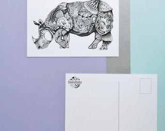 Rhino greeting card - postcard