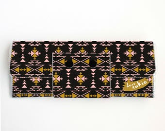 Vinyl Long Wallet - Aztec2 / vegan, large wallet, clutch, card case, vinyl wallet, handmade, aztec, geometric, mustard, bohemian, zipper