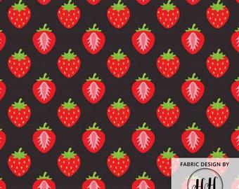 Strawberry Dreams Modern Fabric by the Yard - Strawberry Fabric - Farmers Market Fabric - Decor Fruit Pattern Print in Yard & Fat Quarter