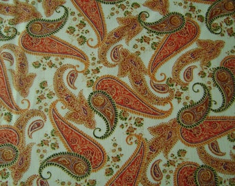 Orange Paisley Cotton Fabric Sold by the Yard