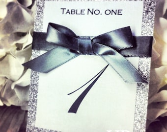 Table Numbers, Silver Glitter Table Numbers, Wedding table numbers