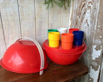 Vintage Red Picnic Ball With Service for Six, Camping Set , Picnic Basket