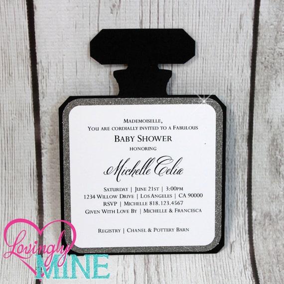 Invitations perfume bottle shape invitations in black stopboris Choice Image