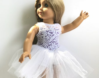 """Sugar Plum Fairy Dance Costume in White and Purple Designed to Fit an 18"""" American Girl Sized Doll"""