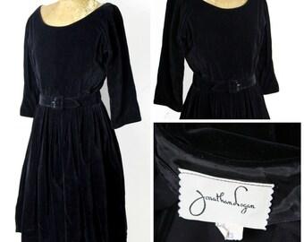 1950s Jonathan Logan Black Velvet Dress