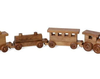 "Amish-Made 24"" Wooden Toy Train Set"