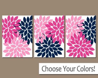 Hot Pink Navy Wall Art, Canvas or Print, Flower Burst Decor, Baby Girl Nursery Decor, Pink Navy Bathroom Wall Decor, Home Decor Set of 3