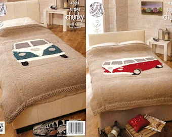 King Cole Knitting Pattern 4323~Camper Van Bedspreads~Super Chunky~2 sizes