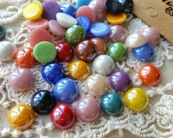 9 -10 mm Electroplated Shiny Porcelain Beads / Round Shape Flat Back / Assorted Colors (.ma)
