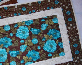 Elegant Teal and Brown Floral Table Runner