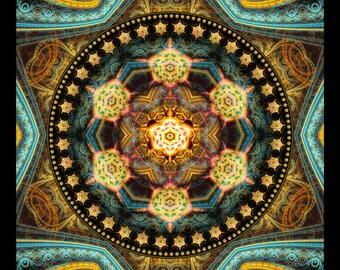 MESCALITO -- Tapestry, Wall Hanging - Original Pumayana Visionary Healing Art, Spiritual, Psy, Shamanic, Sacred Geometry, Entheogenic Art