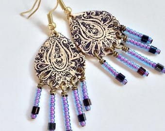Etched Brass Earrings, Art Deco Earrings Purple Dangles - Free Domestic Shipping