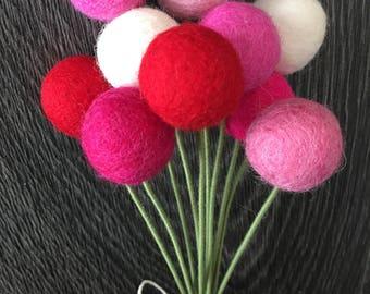 Felt Ball Valentine Flower Bouquet