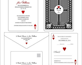 Set of 25 Flat Panel Vegas Poker Themed (Wedding - Bachelorette - Bachelor - Birthday - Party - Christmas) Invitations & RSVP cards
