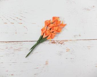 10 mini orange paper calla lily - orange paper flowers