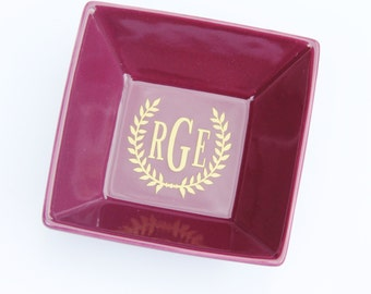 Monogrammed Jewelry Ring Dish in Vibrant Color