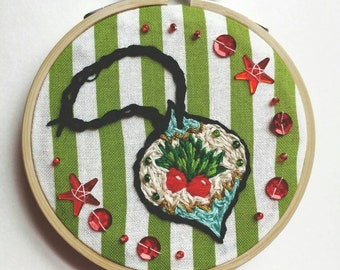 """Christmas Ornament 3"""" Hand Embroidered Hoop Art"""