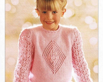 PDF - Girl's Child's Sweater Pullover Jumper - Size 51 to 76 cm (20 to 30 inches)- Patons Double Knitting 4494 - Vintage Knitting Pattern