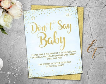 Don't Say Baby Game Don't Say Baby Sign Don't Say Baby Instant Download Baby Shower Games Blue and Gold Baby Shower Games Signs Boys 041