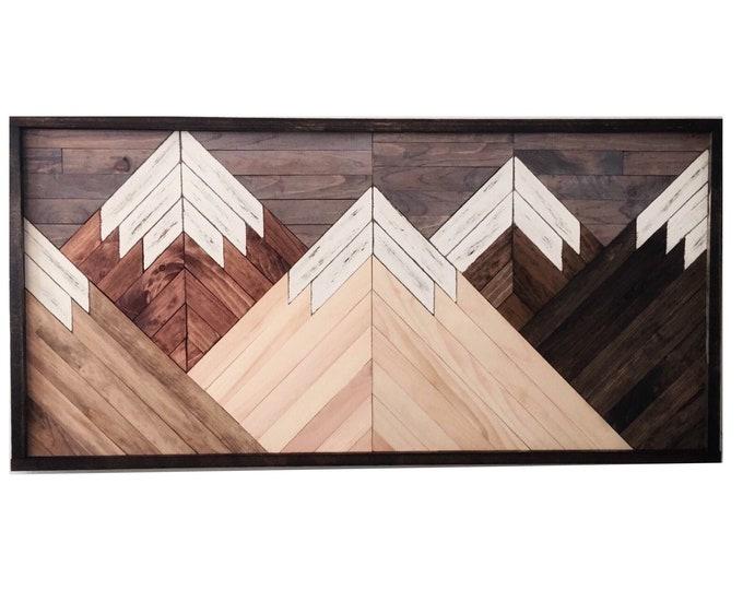 Featured listing image: Wood wall art, mountain range art, rustic wall art, mountain decor, reclaimed wood wall art, living room wall art, rustic decor