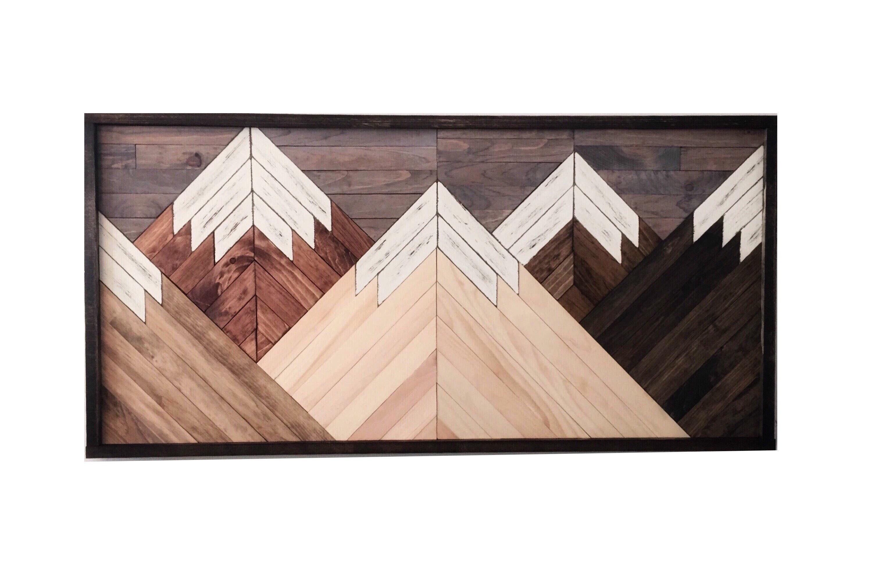 zoom Wood wall art mountain range art