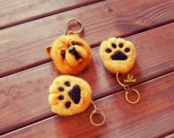 Dog Chow Chow keychain felt dog dog keyring gifts Chow Chow dog accessories pendants keychain Miniature dog Realistic dog Chow Chow