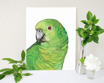 Amazon Parrot Art Print, Amazon Parrot Painting, Parrot Print, Parrot Painting, Parrot Memorial, Modern Animal Art, Minimalist Animal Art