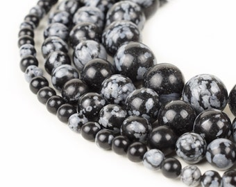 "Natural Snowflake Obsidian Beads 4mm 6mm 8mm 10mm 12mm Loose Gemstone Round 15.5"" Full Strand Wholesale"