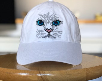 White Cat With Blue Eyes Hand Stitched Hat