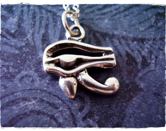 Silver Eye of Horus Necklace - Sterling Silver Eye of Horus Charm on a Delicate Sterling Silver Cable Chain or Charm Only