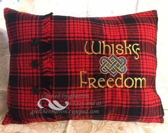 Outlander Throw Pillow Cover -- Whisky & Freedom -- Red/Black Tartan Plaid -- Celtic, Scottish, Celtic Knot, Kilt
