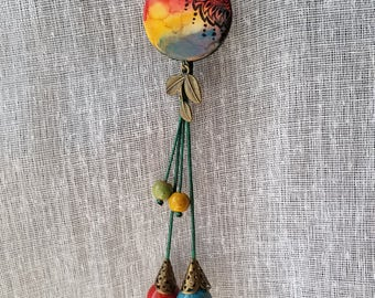 RUSTIC LOVE  Polymer Clay Fashion Jewelry, Rustic Bohemian necklace set, Handmade Jewelry, Casual Jewelry , Gift