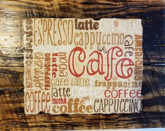 One of a kind sign art for your kitchen or dining room! -Cafe, Coffee, Latte, Espresso, Mocha, Cappuccino, Americano, Frappucino Image