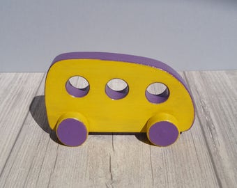 Wooden toy car push toy car on wheels toddler babies gift boy wood little yellow baby rolling kids child's
