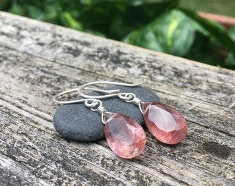 Big Lepidocrocite Gemstone Dangle Earrings - Sterling Silver - Faceted Teardrop Concave Cut - Handmade Wirewrap Artisan Gem Stone Jewelry
