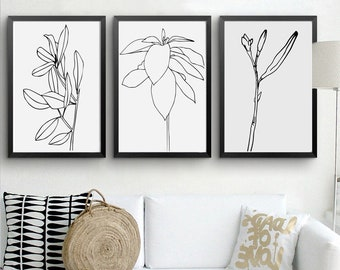 Matisse Wall Art Set of 3 Prints Line Art Botanical Print Downloadable Flower Poster Black And White Minimalist Sketches Drawing Print 11x14