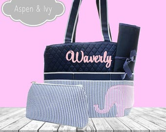 Baby girl personalized diaper bags etsy personalized diaper bag set seersucker monogram diaper bag seersucker diaper bag elephant diaper negle