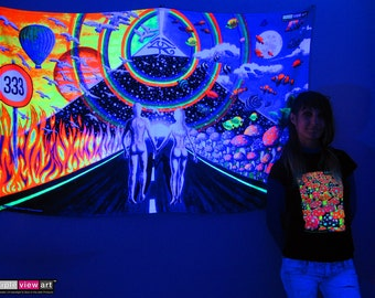 Uv blacklight glow in the dark psychedelic art by tripleviewart new horizons uv black light fluorescent glow psychedelic psy goa trance art backdrop wall hanging home mozeypictures Image collections