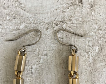 Gold and silver dangle earrlings